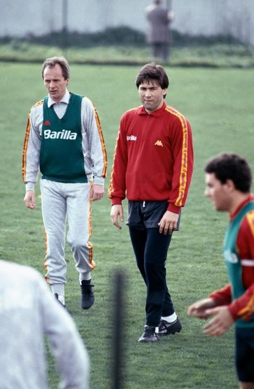 Eriksson con Ancelotti in allenamento