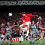 26th MAY 1999. UEFA Champions League Final. Barcelona, Spain. Manchester United 2 v Bayern Munich 1. Manchester United's Teddy Sheringham outjumps Bayern defenders to the head the ball onto teammate Ole Gunnar Solkskjaer who scored the winning goal deep i
