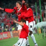 26th MAY 1999. UEFA Champions League Final. Barcelona, Spain. Manchester United 2 v Bayern Munich 1. Manchester United's Ole Gunnar Solkskjaer ecstatic after scoring the winning goal deep into injury time.
