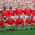 26th MAY 1999. UEFA Champions League Final. Barcelona, Spain. Manchester United 2 v Bayern Munich 1. The Manchester United team pose for photographers before the match