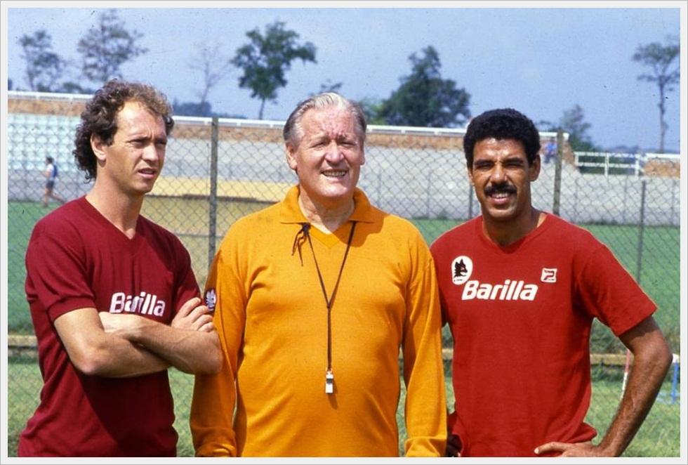 Nils Liedholm assieme a Falcao e Toninho Cerezo