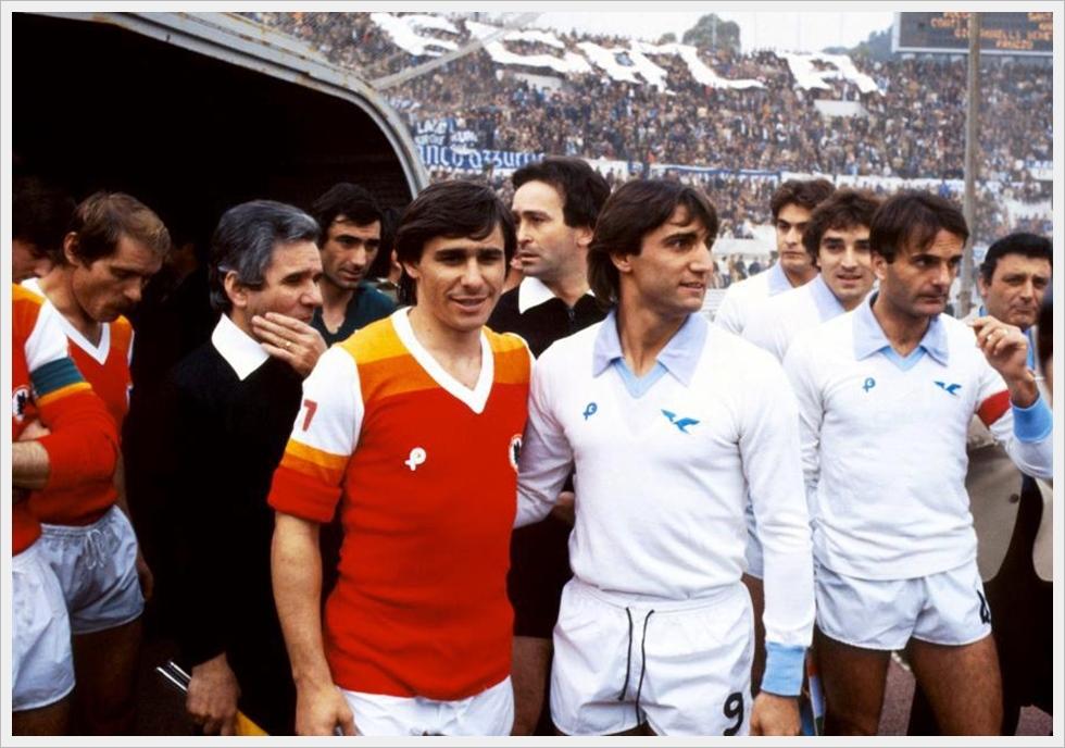 Stagione 1979/80: Lazio - Roma 1-2, Bruno Conti e Giordano prima della partita