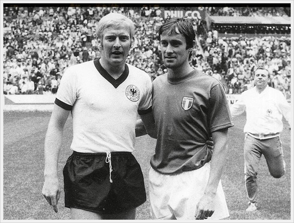 Compagni contro: Schnellinger e Rosato prima di Italia-Germania Ovest 4-3