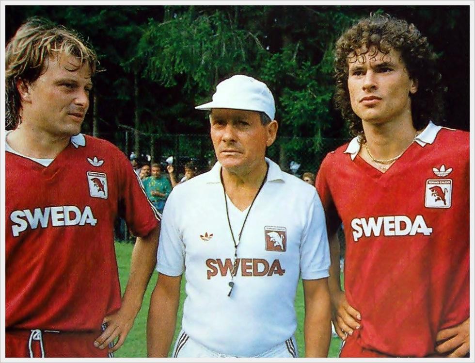 Torino 1987/88: Klaus Berggreen, Gigi Radice e Anton Polster