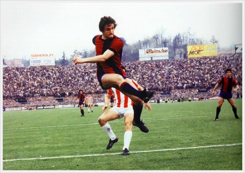 Stefano Chiodi in Bologna-L.R. Vicenza 3-2 dell'aprile 1978
