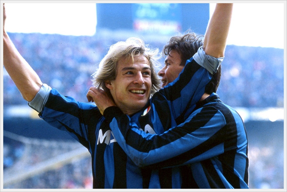 Jürgen Klinsmann e Aldo Serena nell'Inter dei record