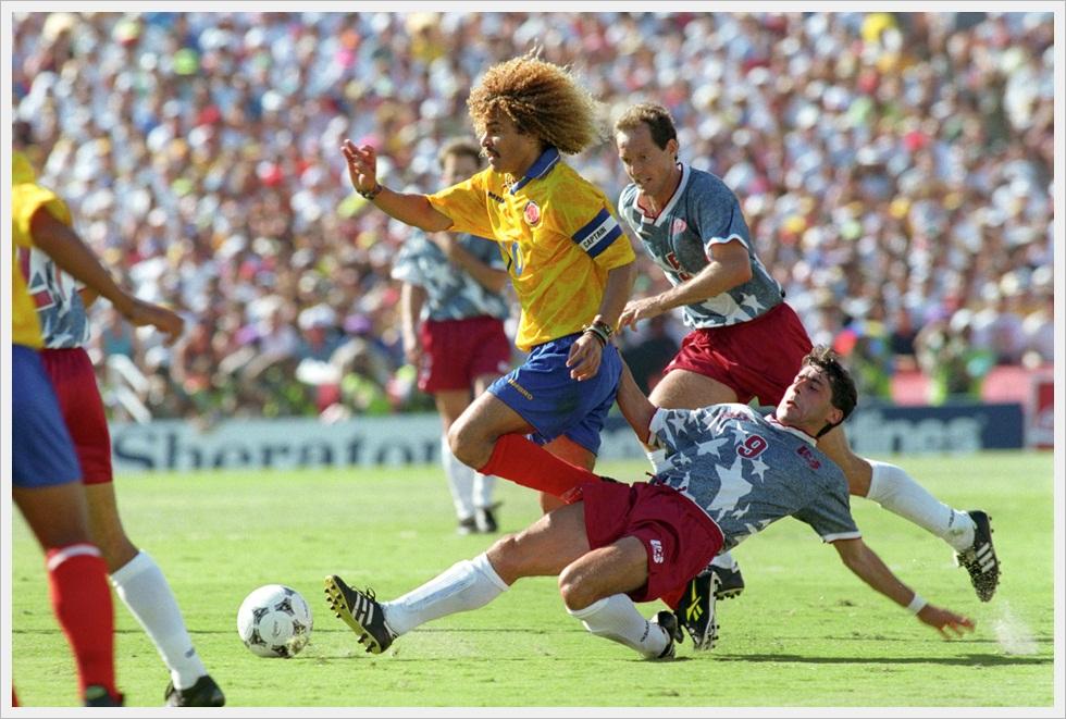 Mondiali 1994: Carlos Valderrama e Tab Ramos in USA-Colombia 2-1