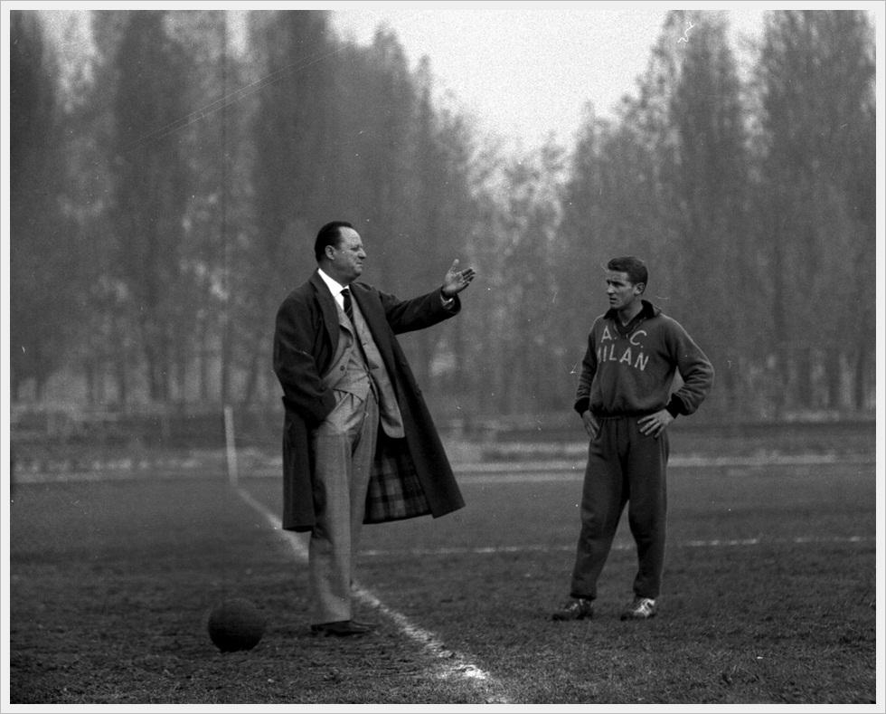 Gipo Viani e Giovanni Trapattoni tra le nebbie di Milanello, 1963