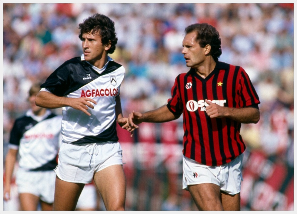 Zico e Wilkins in Milan-Udinese 2-2 del 16 settembre 1984