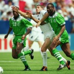Daniele Massaro of Italy and Michael Emenalo and Uche Okechukwu of Nigeria
