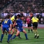 Football. UEFA Champions League Final. Munich, Germany. 28th May 1997. Borussia Dortmund 3 v Juventus 1. Borussia Dortmund's Karlheinz Riedle (centre) heads his side's second goal.