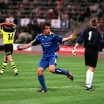 Football. UEFA Champions League Final. Munich, Germany. 28th May 1997. Borussia Dortmund 3 v Juventus 1. Alessandro Del Piero of Juventus has scored their second half goal.