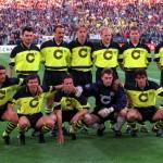 Football. UEFA Champions League Final. Munich, Germany. 28th May 1997. Borussia Dortmund 3 v Juventus 1. The Borussia Dortmund team pose together for a group photograph prior to the match. Back Row L-R: Stephane Chapusiat, Jurgen Kohler, Jorg Heinrich, Ma