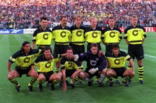 Football. UEFA Champions League Final. Munich, Germany. 28th May 1997. Borussia Dortmund 3 v Juventus 1. The Borussia Dortmund team pose together for a group photograph prior to the match. Back Row L-R: Stephane Chapusiat, Jurgen Kohler, Jorg Heinrich, Ma
