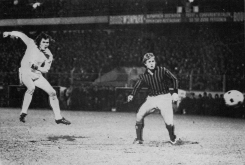 Brugge - Milan 2-0, andata quarti Coppa Uefa 1975-76, Le Fèvre apre le marcature