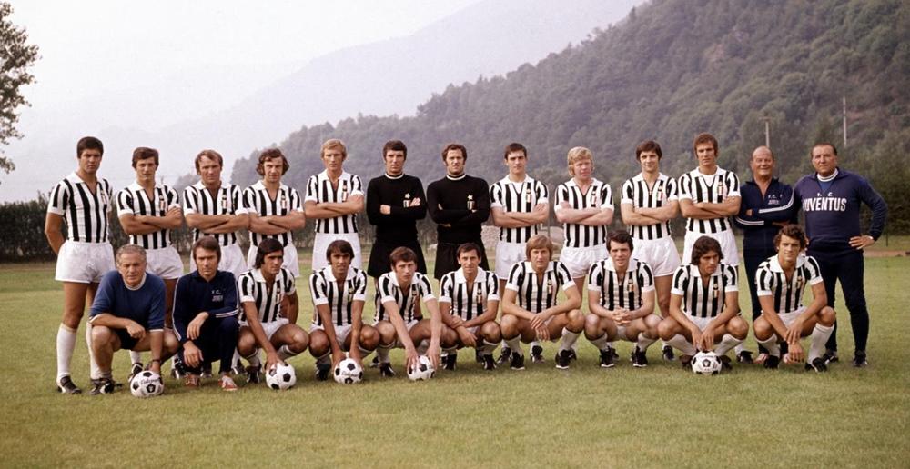 La rosa e lo staff tecnico della Juventus nella stagione 1972-1973