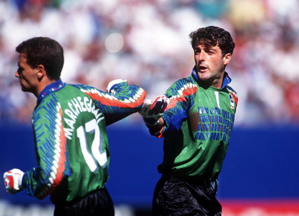 1994 World Cup Finals. New Jersey, USA. 23rd June, 1994. Italy 1 v Norway 0. Italian goalkeeper Gianluca Pagliuca wishes luck to substitute keeper Marchegiani who replaced him after he was sent off