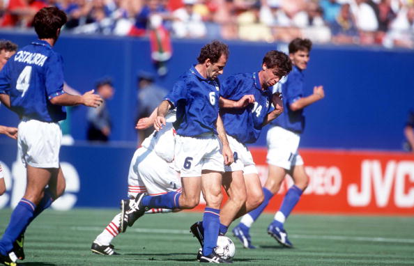 1994 World Cup Finals. New Jersey, USA. 23rd June, 1994. Italy 1 v Norway 0. Italy's Franco Baresi on the ball.