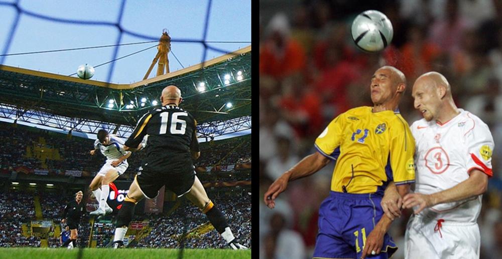 A sinistra, la rete di Charisteas in Grecia-Francia 1-0. A destra, duello aereo tra Larsson e Stam. Passeranno gli arancioni ai rigori