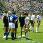 Diego Maradona of Argentina and Scirea of Italy