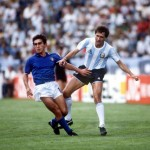 1986 World Cup Finals, Puebla, Mexico, 5th June, 1986, Italy 1 v Argentina 1, Italy's Giuseppe Galderisi with Argentina's Oscar Garre