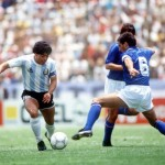 1986 World Cup Finals, Puebla, Mexico, 5th June, 1986, Italy 1 v Argentina 1, Argentina's Diego Maradona takes on Italy's Gaetano Scirea
