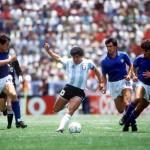1986 World Cup Finals, Puebla, Mexico, 5th June, 1986, Italy 1 v Argentina 1,Argentina's Diego Maradona races between Italy's Antonio Di Gennaro and Fernando De Napoli