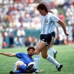1986 World Cup Finals, Puebla, Mexico, 5th June, 1986, Italy 1 v Argentina 1, Argentina's Jorge Valdano is tackled by Italy's Alessandro Altobelli