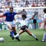 1986 World Cup Finals, Puebla, Mexico, 5th June, 1986, Italy 1 v Argentina 1, Italy's Giuseppe Bergomi is tackled by Argentina's Ricardo Giusti