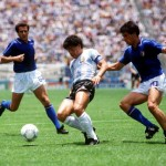 1986 World Cup Finals, Puebla, Mexico, 5th June, 1986, Italy 1 v Argentina 1, Argentina's Diego Maradona is challenged by Italy's Salvatore Bagni