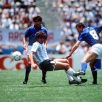 1986 World Cup Finals, Puebla, Mexico, 5th June, 1986, Italy1 v Argentina 1, Argentina's Ricardo Giusti battles for the ball with Italy's Pietro Vierchowod