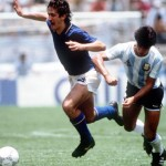 1986 World Cup Finals, Puebla, Mexico, 5th June, 1986, Italy1 v Argentina 1, Argentina's Claudio Borghi battles for the ball with Italy's De Napoli