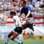 1986 World Cup Finals, Puebla, Mexico, 5th June, 1986, Italy 1 v Argentina 1, Argentina's Jorge Burruchaga battles with Italy's airborne Pietro Vierchowod
