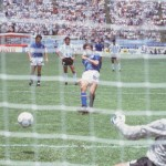 1986 World Cup Finals, Puebla, Mexico, 5th June, 1986, Italy 1 v Argentina 1, Italy's Alessandro Altobelli scores his side's goal from the penalty spot past Argentina goalkeeper Pietro Vierchowod