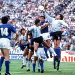1986 World Cup Finals, Puebla, Mexico, 5th June, 1986, Italy 1 v Argentina 1, Italy's goalkeeper Giovanni Galli punches the ball clear during an Argentine attack, aided by defender Gaetano Scirea