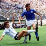 1986 World Cup Finals, Puebla, Mexico, 5th June 1986, Italy 1 v Argentina 1, Argentina's Oscar Ruggeri clears from Italy's Alessandro Altobelli