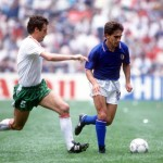 1986 World Cup Finals, Azteca Stadium, Mexico, 31st May 1986, Italy 1 v Bulgaria 1, Italy's Giuseppe Galderisi battles for the ball with Bulgaria's Gheorgi Dimitrov