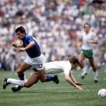1986 World Cup Finals, Azteca Stadium, Mexico, 31st May 1986, Italy 1 v Bulgaria 1, Italy's Salvatori Bagni battles for the ball with Bulgaria's Bochidar Iskrenov