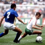 1986 World Cup Finals, Azteca Stadium, Mexico, 31st May 1986, Italy 1 v Bulgaria 1, Italy's Giuseppe Bergomi is beaten by Bulgaria's Stoicho Mladenov