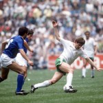 1986 World Cup Finals, Azteca Stadium, Mexico, 31st May 1986, Italy 1 v Bulgaria 1, Italy's Gaetano Scirea is beaten by Bulgaria's Bochidar Iskrenov