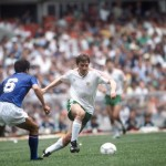 1986 World Cup Finals, Azteca Stadium, Mexico, 31st May 1986, Italy 1 v Bulgaria 1, Italy's Gaetano Scirea (L) moves in to challenge Bulgaria's Bochidar Iskrenov for the ball
