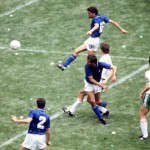 1986 World Cup Finals, Azteca Stadium, Mexico, 31st May 1986, Italy 1 v Bulgaria 1, Italy's Alessandro Altobelli scores his side's goal