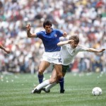 1986 World Cup Finals, Azteca Stadium, Mexico, 31st May 1986, Italy 1 v Bulgaria 1, Italy's Salvatore Bagni battles for the ball with Bulgaria's Bochidar Iskrenov