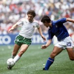 1986 World Cup Finals, Azteca Stadium, Mexico, 31st May 1986, Italy 1 v Bulgaria 1, Italy's De Napoli moves in to challenge Bulgaria's Zivko Gospodinov