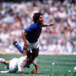 1986 World Cup Finals, Azteca Stadium, Mexico, 31st May, 1986, Italy 1 v Bulgaria 1, Italy's Giuseppe Galderisi is challenged for the ball by Bulgaria's Arabov