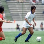 1986 World Cup Finals. Puebla, Mexico. 10th June, 1986. Italy 3 v South Korea 2. Italy's De Napoli runs with the ball.