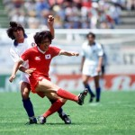 1986 World Cup Finals. Puebla, Mexico. 10th June, 1986. Italy 3 v South Korea 2. South Korea's Kwang Rae Cho shoots despite the attention of Italy's Bruno Conti.