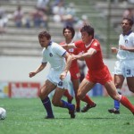 1986 World Cup Finals. Puebla, Mexico. 10th June, 1986. Italy 3 v South Korea 2. Italy's Pietro Vierchowod is challenged for the ball by South Korea's Bum Kun Cha.