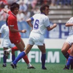 1986 World Cup Finals. Puebla, Mexico. 10th June, 1986. Italy 3 v South Korea 2. Italy's Gaetano Scirea and De Napoli with South Korea's Soon Ho Choi.