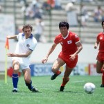 1986 World Cup Finals. Puebla, Mexico. 10th June, 1986. Italy 3 v South Korea 2. Italy's Pietro Vierchowod beats Bum Kun Cha.